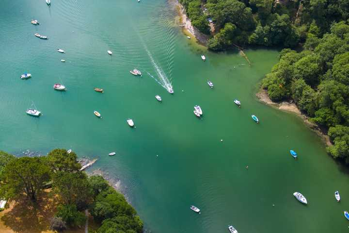 Port Navas creek on the Helford River, as seen from a drone above